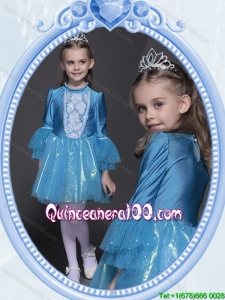 Halloween Classical Long Sleeves Short Little Girl Pageant Dress in Tulle and Taffeta