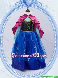 Halloween Discount High Neck Royal Blue Long Little Girl Pageant Dress with Embroidery