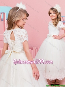 Affordable Short Sleeves Laced Bodice Flower Girl Dress in Tea Length