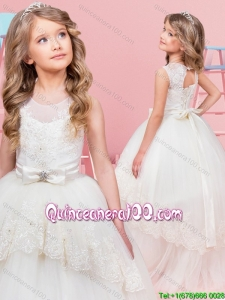 Beautiful See Through Scoop Tulle Laced Flower Girl Dress with Bowknot