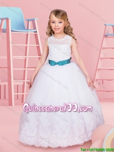 Best Selling Lace and Tulle Flower Girl Dress with Beading and Bowknot