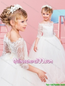 Classical Off the Shoulder Laced Flower Girl Dress with Half Sleeves