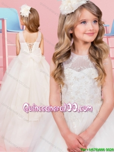 Fashionable Applique and Bowknot Lace Up Flower Girl Dress with Brush Train