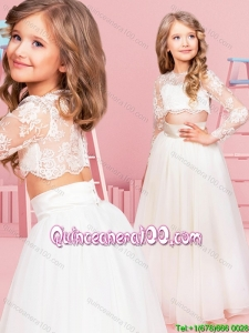 Hot Sale Two Piece See Through Scoop Flower Girl Dress with Button Up