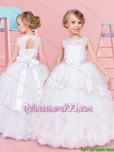 Infant See Through Bowknot and Laced Tulle Flower Girl Dress in White