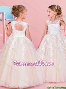 Modern See Through Scoop Beaded and Applique Flower Girl Dress in Champagne