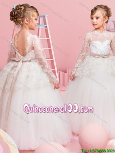 New Style Backless Long Sleeves Bowknot and Laced Flower Girl Dress in Tulle