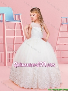 Perfect See Through Scoop Floor Length Laced Flower Girl Dress in Tulle
