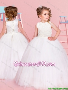 Romantic Really Puffy Ball Gown Scoop Flower Girl Dress with Rolling Flower