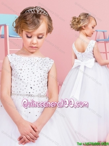 Top Seller Zipper Up Beaded Bodice and Bowknot Flower Girl Dress