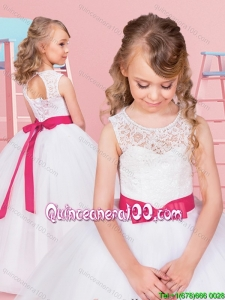 Unique See Through Floor Length Flower Girl Dress with Bowknot and Lace