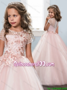 Affordable See Through Scoop Button Up Little Girl Pageant Dress in Baby Pink
