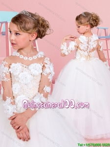 Beautiful Button Up Flower Girl Dress with Applique Decorated Long Sleeves and Scoop