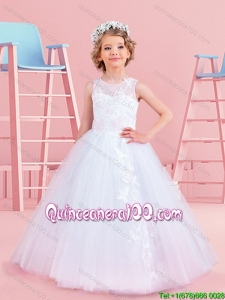 Best Selling See Through Scoop Tulle Flower Girl Dress with Appliques