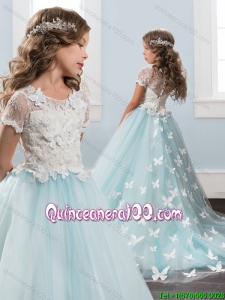 Cheap Applique and Laced Light Blue Little Girl Pageant Dress with Brush Train
