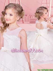 Cheap See Through Scoop Flower Girl Dress with Ruffled Layers and Bowknot