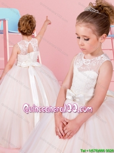 Classical See Through Laced and Bowknot Flower Girl Dress in Champagne