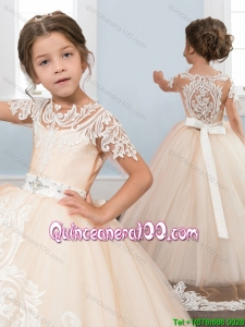 Classical See Through White and Pink Little Girl Pageant Dress with Short Sleeves