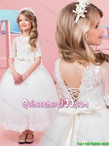Discount Bowknot and Laced Short Sleeves Flower Girl Dress in Tea Length