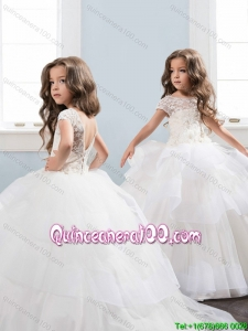 Discount Ruffled Layers and Laced Little Girl Pageant Dress with Brush Train