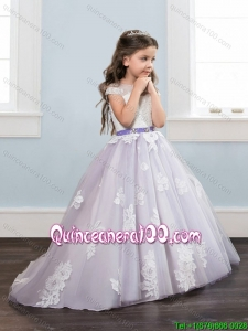 Discount See Through Laced Brush Train Little Girl Pageant Dress with Cap Sleeves