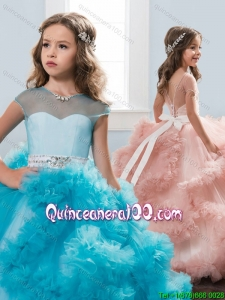 Elegant See Through Short Sleeves Little Girl Pageant Dress with Beading and Ruffles