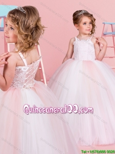 Elegant Straps White and Pink Flower Girl Dress with Laced Bodice
