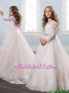 Exclusive Long Sleeves Brush Train White Little Girl Pageant Dress with Lace
