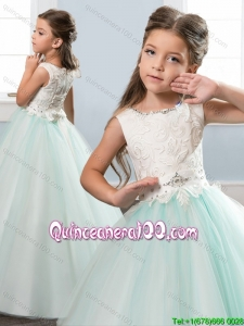 Exquisite Scoop Zipper Up Laced Bodice Little Girl Pageant Dress in Apple Green