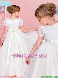 Fashionable A Line Belted and Laced Flower Girl Dress with Short Sleeves