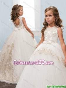 Gorgeous Bowknot and Laced Open Back Brush Train Little Girl Pageant Dress in White
