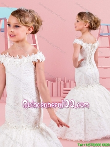 Gorgeous Mermaid Applique and Laced Little Girl Pageant Dress with Off the Shoulder