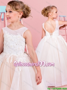 Hot Sale See Through Scoop Backless Flower Girl Dress with Lace Appliques