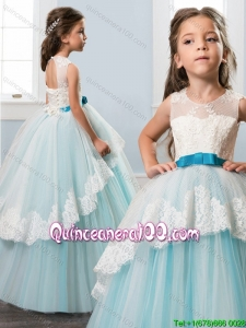 Hot Sale White and Blue Little Girl Pageant Dress with Bowknot and Lace