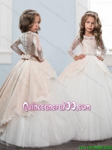Infant Long Sleeves Button Up Little Girl Pageant Dress in White and Champagne