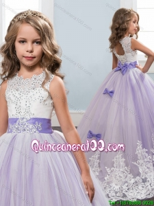 Lovely Beaded Bowknot Lavender Tulle Little Girl Pageant Dress with Lace Appliques