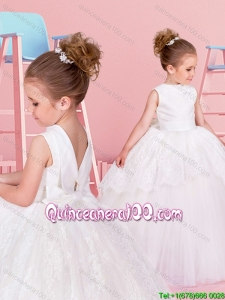 Lovely Big Puffy High Neck Backless Flower Girl Dress with Bowknot and Lace