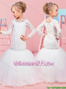 Lovely Mermaid Beaded and Laced Bodice Little Girl Pageant Dress with Long Sleeves