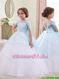 Luxurious Beaded Decorated Waist Little Girl Pageant Dress in White and Blue