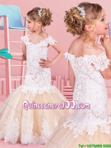 Luxurious Mermaid Off the Shoulder Brush Train Little Girl Pageant Dress in Champagne and White