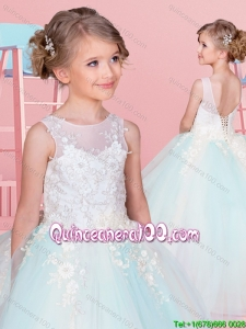 Most Popular Backless Light Blue and White Little Girl Pageant Dress with Appliques