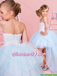 New Arrivals High Low Laced Bodice Little Girl Pageant Dress in Light Blue
