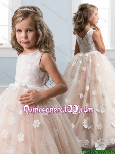 New Style Zipper Up Champagne Little Girl Pageant Dress with Appliques and Bowknot
