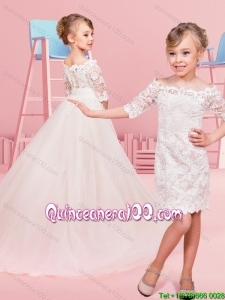Outside Long Inside Short Laced and Tulle Off the Shoulder Little Girl Pageant Dress