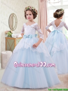 Perfect Bowknot and Laced Light Blue Little Girl Pageant Dress with Half Sleeves