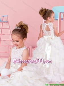 Perfect Princess Chiffon Little Girl Pageant Dress with Ruffles and Laced Bodice