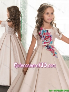 Popular Applique Satin Champagne Little Girl Pageant Dress with Zipper Up