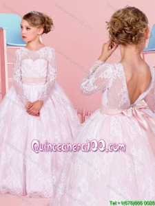 Popular V Shaped Backless Lace Pink Flower Girl Dress with Long Sleeves
