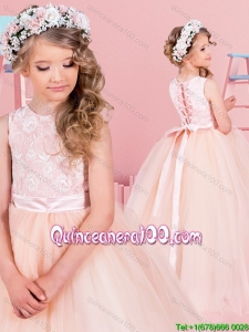 Pretty Laced Bodice Champagne Floor Length Little Girl Pageant Dress in Tulle