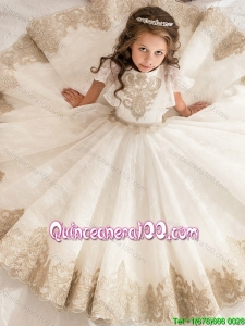 Romantic Short Sleeves Little Girl Pageant Dress with Lace and Beaded Decorated Waist